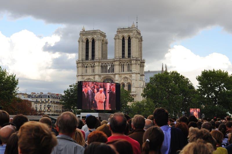 Papa Benedict XVI a PARIGI fotografie stock libere da diritti