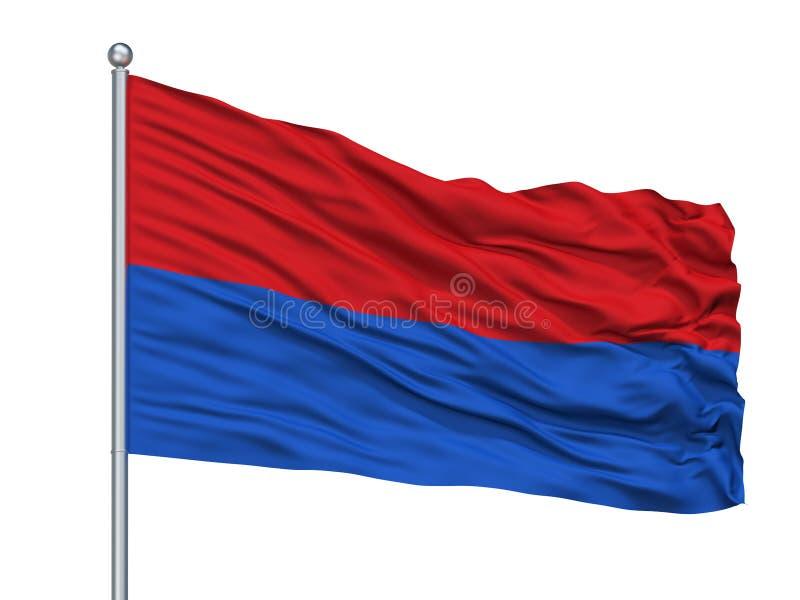 Papa City Flag On Flagpole, Hungría, aislada en el fondo blanco libre illustration