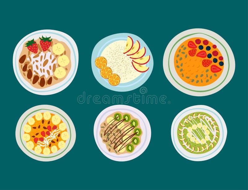 Papa de aveia da farinha de aveia do café da manhã com vetor fresco da sobremesa da manhã comer do vegetariano delicioso gourmet  ilustração royalty free