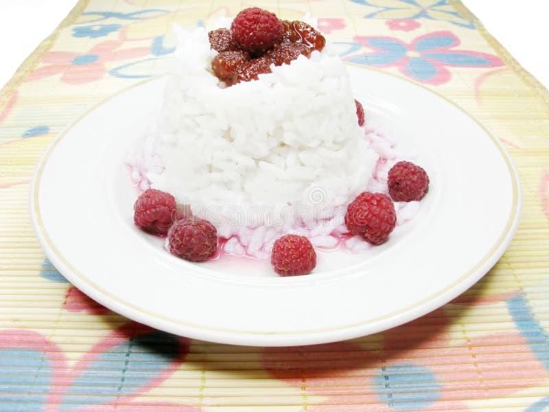 Papa de aveia do arroz com framboesa foto de stock royalty free