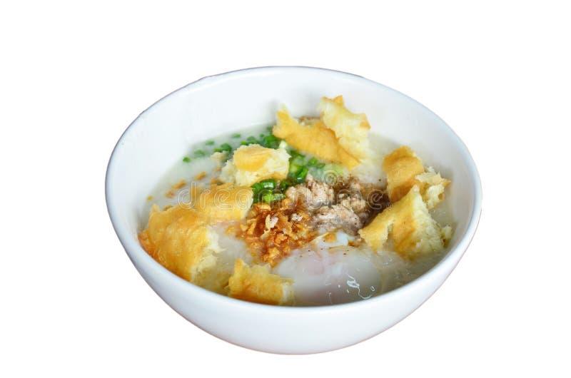 Papa de aveia ou Congee do arroz com o bolo de esponja fritado branco do doughstick ou do açúcar fotos de stock royalty free