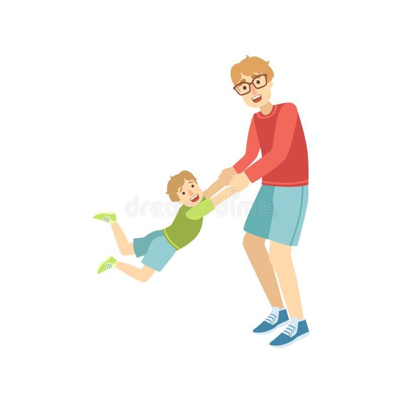 Papa die een Rotatie geven aan Zijn Zoon royalty-vrije illustratie