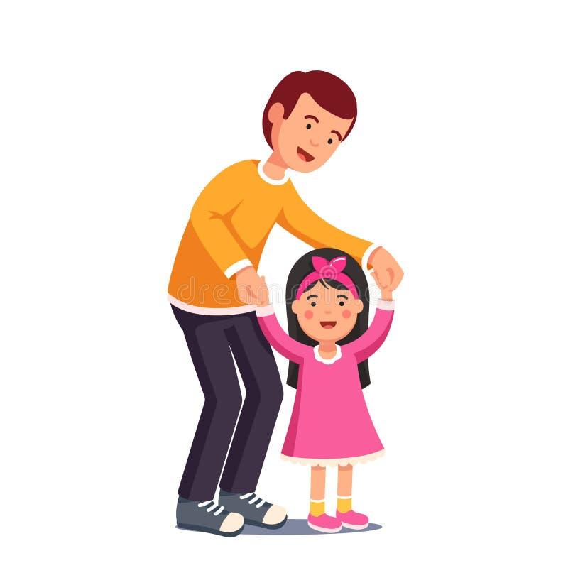 Papa die met zijn dochter lopen die haar handen houden royalty-vrije illustratie