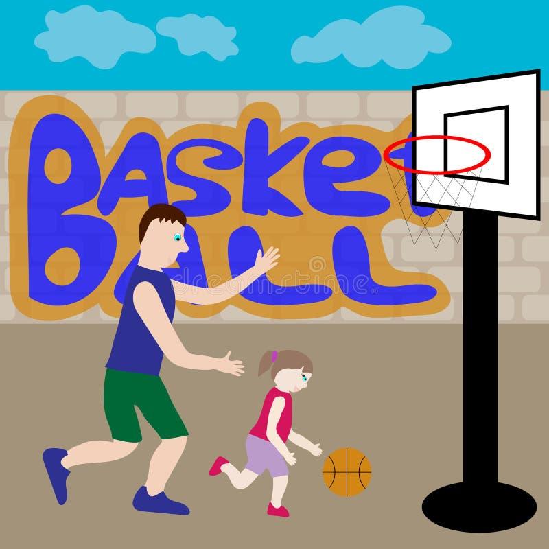 Papa en dochterspelbasketbal royalty-vrije illustratie