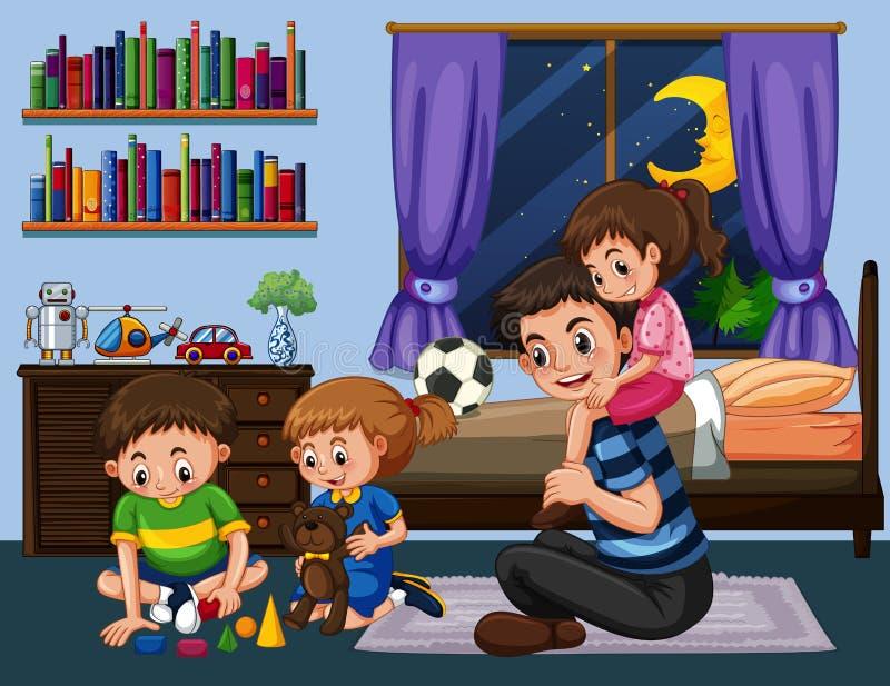 Papa en drie jonge geitjes in slaapkamer bij nacht vector illustratie