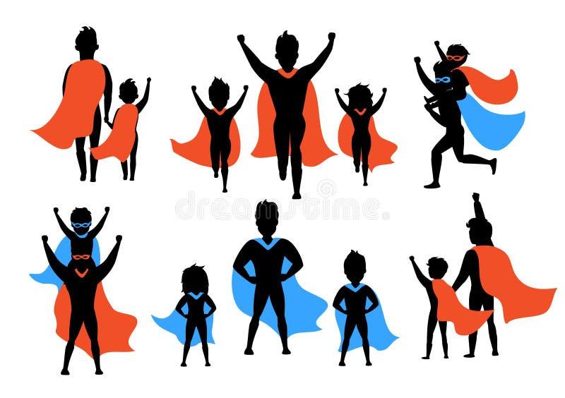 Papa en jonge geitjes, jongens en meisjes het spelen superheroes silhouetten vector illustratie