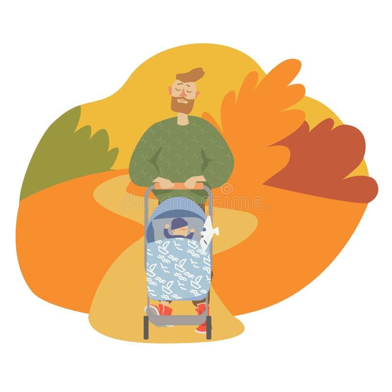 Papa en weinig zoon in een wandelwagen die, illustratie in de herfst lopen royalty-vrije illustratie
