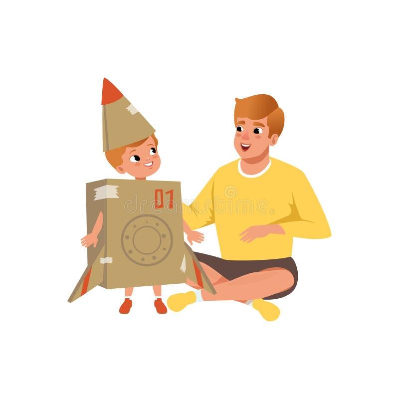 Papa en zijn kleine zoon die met kartonvliegtuig spelen, houdende van vader die tijd samen van vectorillustratie op a genieten stock illustratie