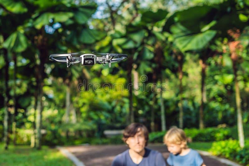 Papa en zoons het spelen met hommel, mensen en jongens het spelen met het vliegen royalty-vrije stock foto