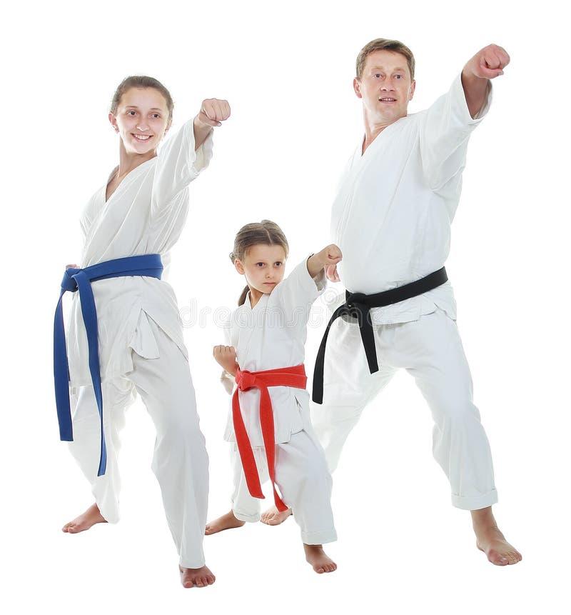 Papa et deux filles dans un kimono frappant le bras image libre de droits