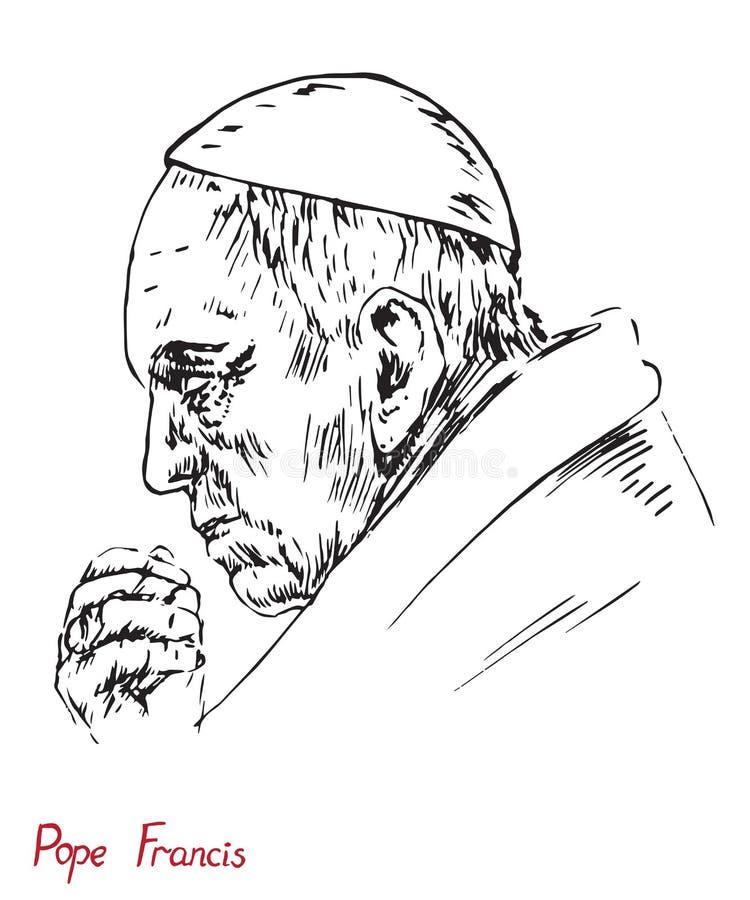 Papa Francis Jorge Mario Bergoglio, papa de Roman Catholic Church stock de ilustración