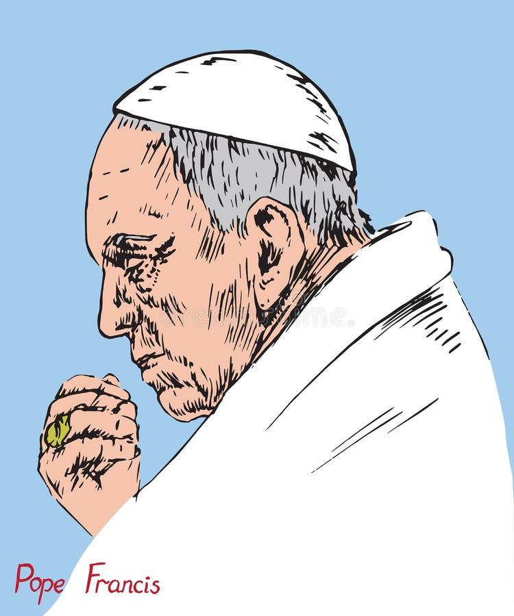 Papa Francis Jorge Mario Bergoglio que ruega, papa de Roman Catholic Church libre illustration