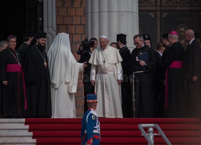 Papa Francisc visit Romania. Papa Francisc, received with open hearts by the romanians at Bucharest basilica capital catholic catholicism christian church crowd stock photo