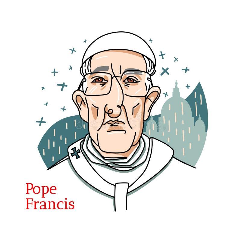 Papa Francisco Portrait ilustración del vector