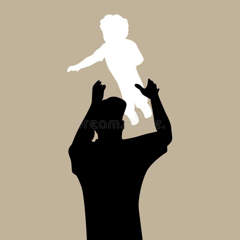 Papa jetant l'enfant en l'air illustration de vecteur