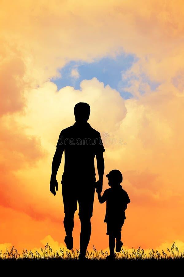 Papa met zijn zoon bij zonsondergang stock illustratie