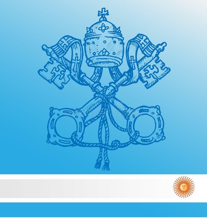 Bandeira de Argentina do whit do símbolo de Vatican ilustração do vetor