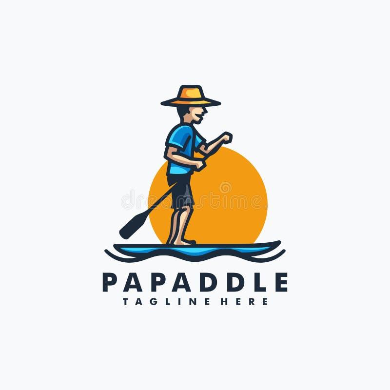 Papa Paddle Design-het Vectormalplaatje van de conceptenillustratie royalty-vrije illustratie