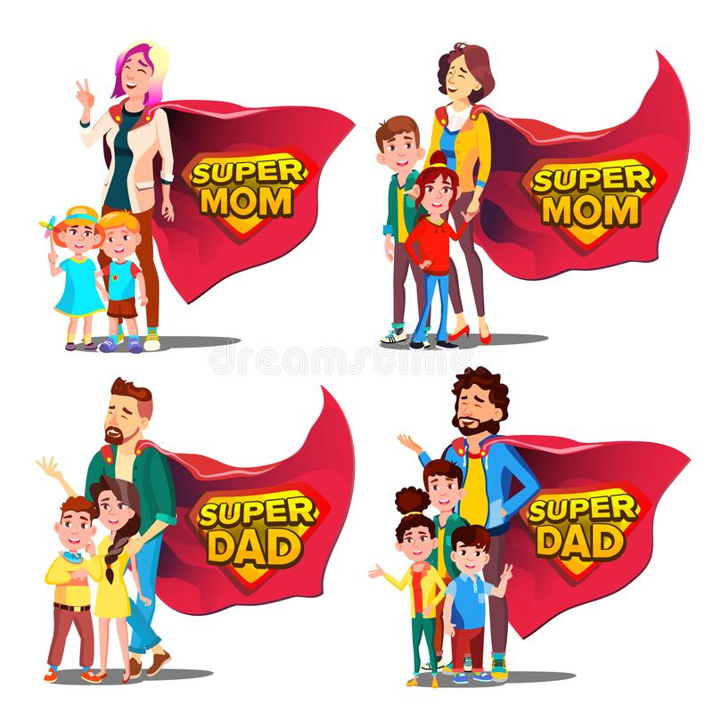 Papa superbe, vecteur de maman Mère et père Like Super Hero avec des enfants Insigne de bouclier Bande dessinée plate d'isolement illustration libre de droits