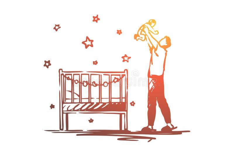 Papa sur des cong?s de maternit?, b?b? heureux de participation d'homme, pi?ce d'enfants avec le berceau, paternit?, gardant les  illustration stock