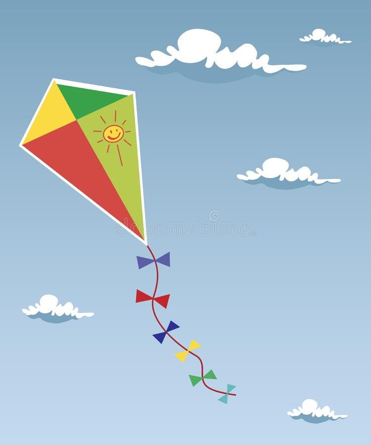 Papagaio acima nas nuvens ilustração do vetor