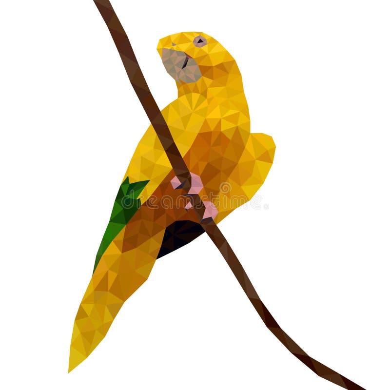Papagaio amarelo selvagem poligonal ilustração do vetor