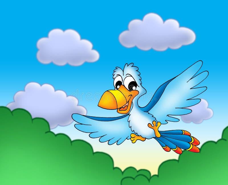 Papagaio azul de voo ilustração do vetor