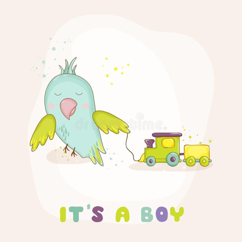 Papagaio bonito com um trem Chuveiro de bebê ou cartão de chegada ilustração royalty free