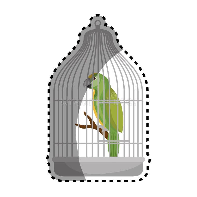 Papagaio bonito do pássaro na mascote da gaiola ilustração royalty free