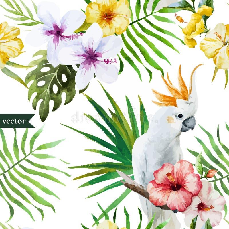Papagaio branco, hibiscus, tropical, palmeiras, flores, teste padrão, papel de parede ilustração royalty free