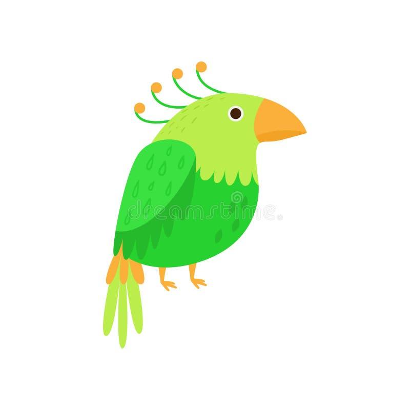 Papagaio colorido verde de amazon, pássaro bonito do jardim zoológico ilustração stock