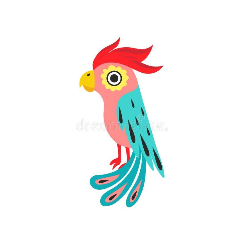 Papagaio com crista, pássaro tropical com penas coloridas e ilustração do vetor das asas ilustração do vetor