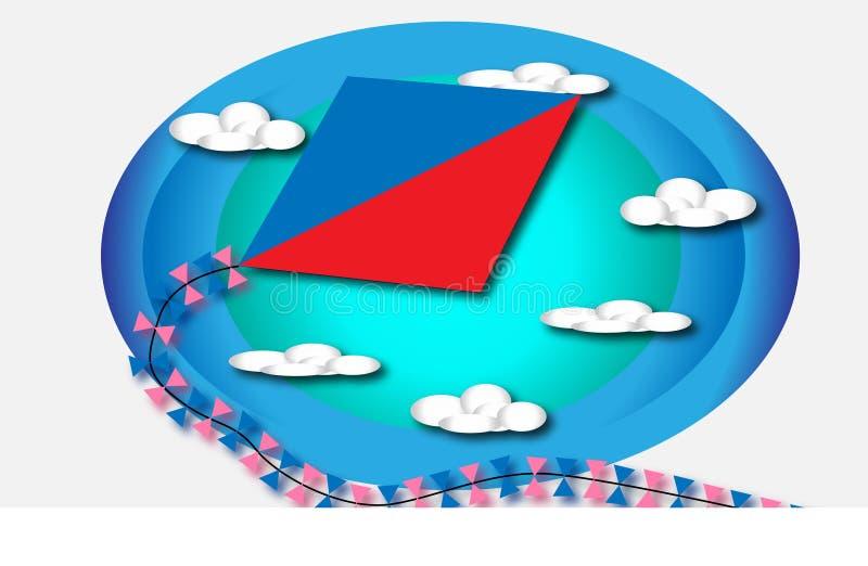Papagaio com o fundo do céu e das nuvens ilustração stock