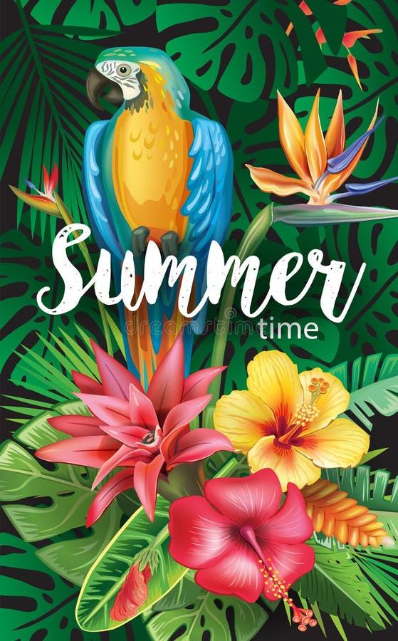 Papagaio com tropical e as flores ilustração royalty free