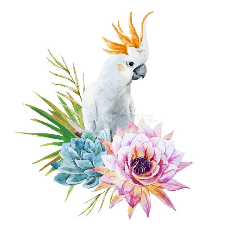 Papagaio da aquarela com flores ilustração royalty free