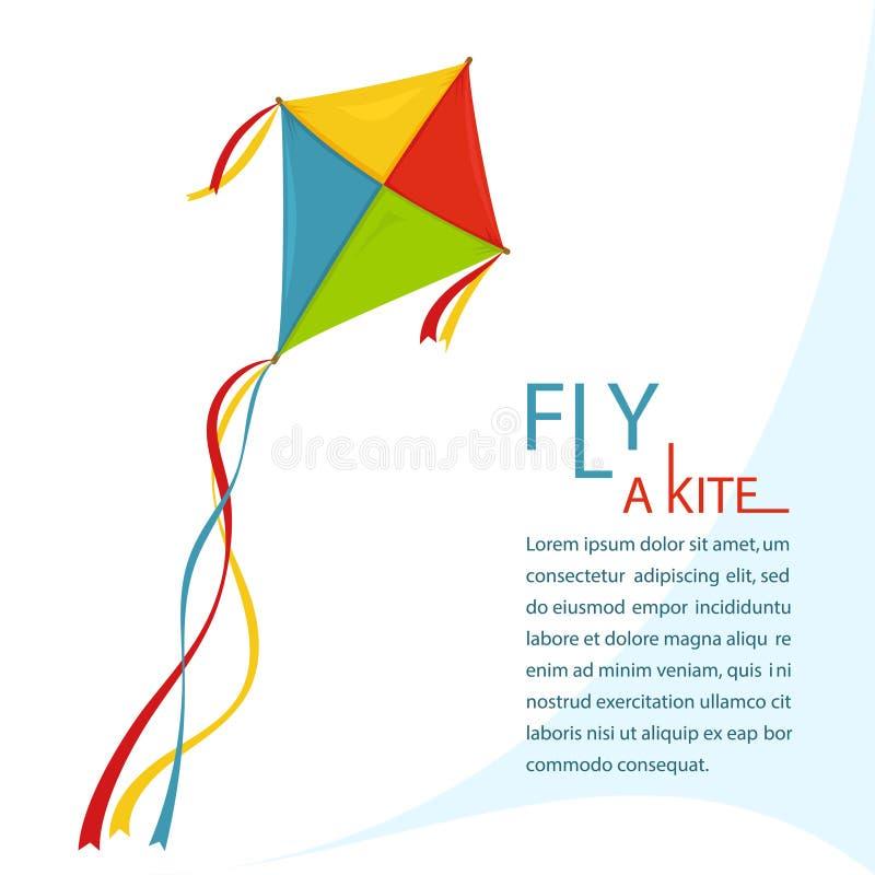 Papagaio da mosca no céu, vetor ilustração royalty free