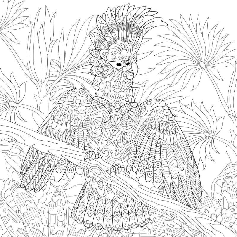 Papagaio de cacatua australiano na floresta tropical da selva ilustração royalty free