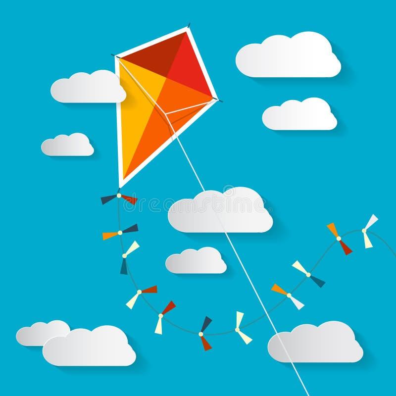 Papagaio de papel do vetor no céu azul ilustração do vetor