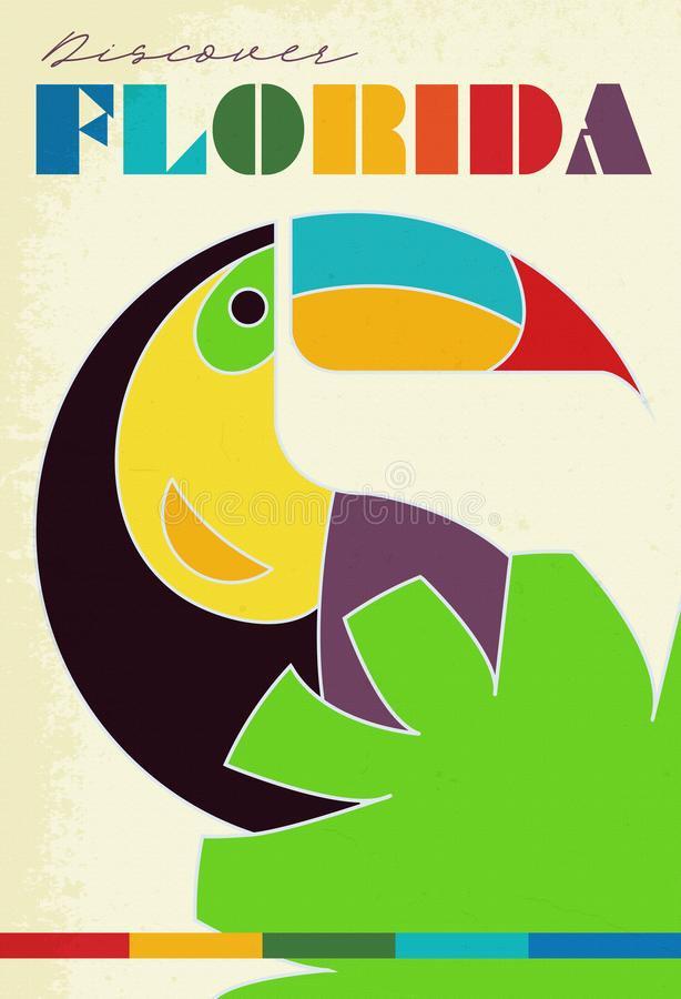 Papagaio do Grunge do cartaz do curso de Florida do vintage ilustração stock