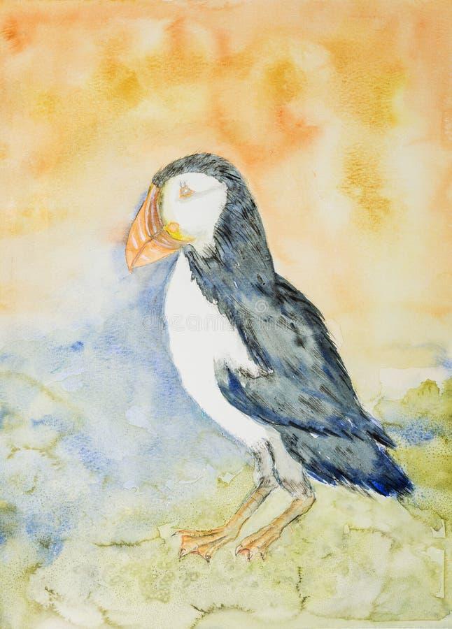 Papagaio-do-mar em um fundo alaranjado e azul ilustração stock