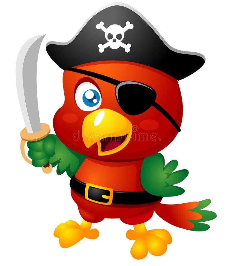 Papagaio do pirata dos desenhos animados ilustração stock