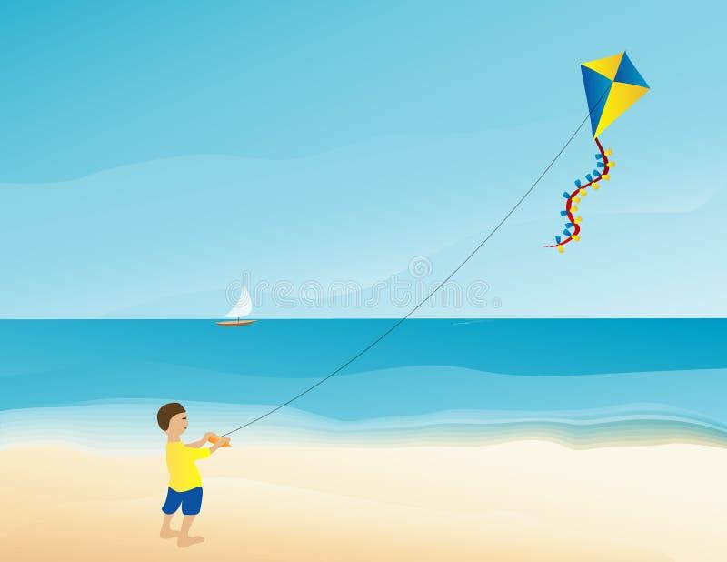 Papagaio do vôo do menino na praia ilustração do vetor