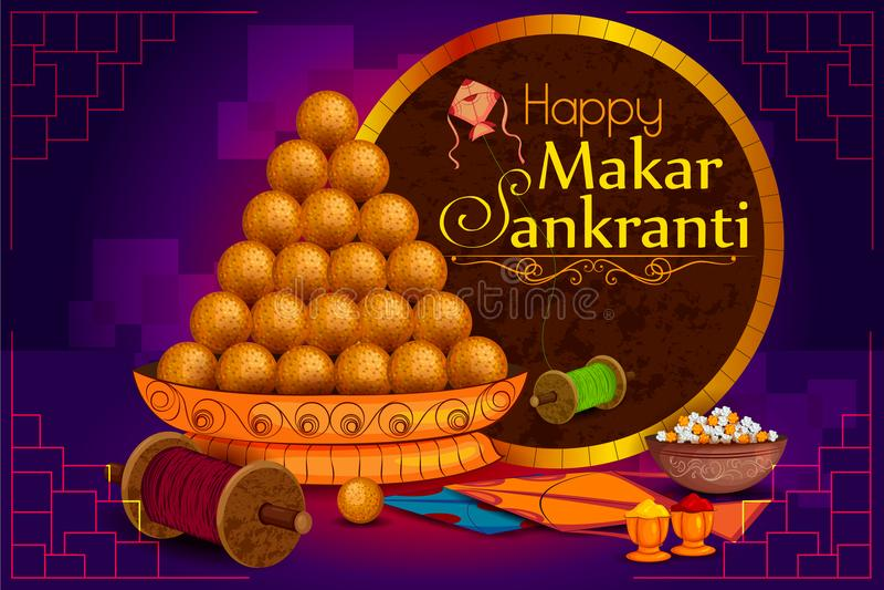Papagaio doce e colorido delicioso para o festival indiano, Makar Sankranti ilustração do vetor