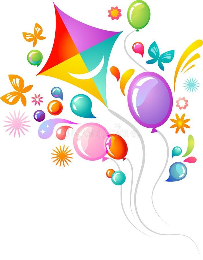 Papagaio e balões ilustração stock