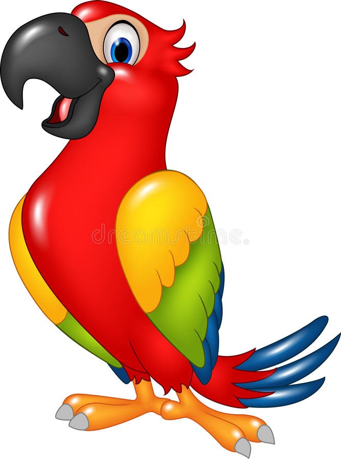 Papagaio engraçado dos desenhos animados isolado no fundo branco