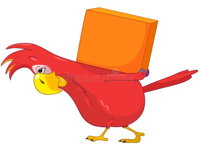 Papagaio engraçado. Entrega. ilustração do vetor