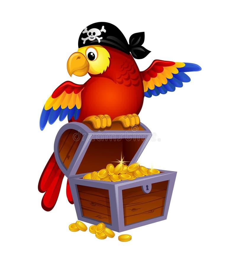 Papagaio na arca do tesouro ilustração stock