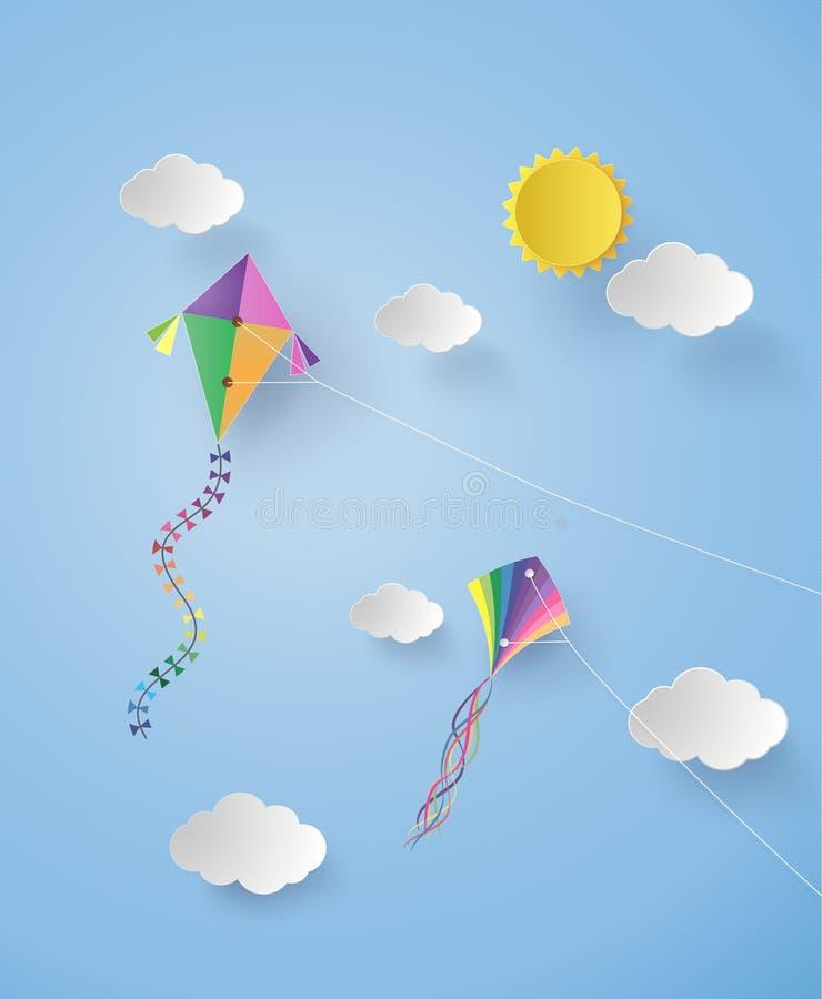 Papagaio no céu ilustração royalty free