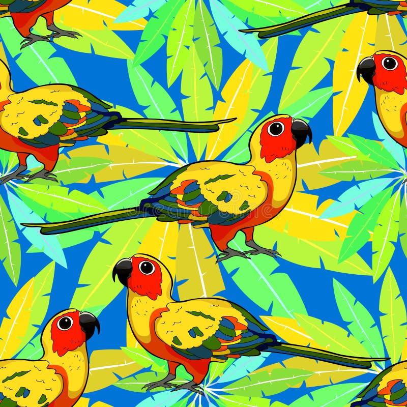Papagaio sem emenda Brasil do periquito de Sun do teste padrão Vetor Illustratio ilustração stock