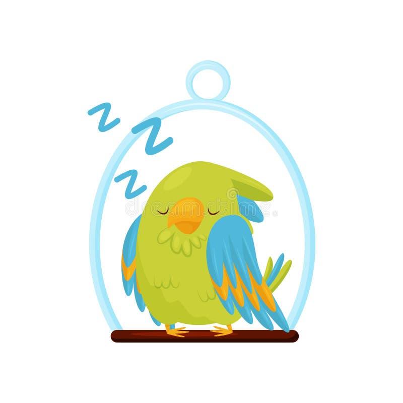 Papagaio verde bonito que dorme na vara de madeira Pássaro com penas brilhantes Personagem de banda desenhada adorável Ícone liso ilustração royalty free